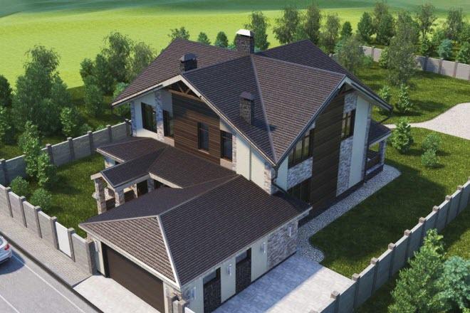 Сложная (многощипцовая) крыша мансарды